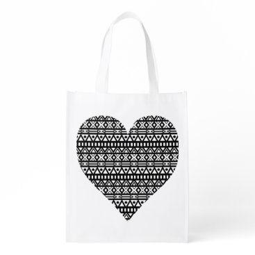 Aztec Themed Black and White Aztec Heart Reusable Grocery Bag