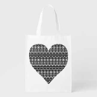 Black and White Aztec Heart Reusable Grocery Bags