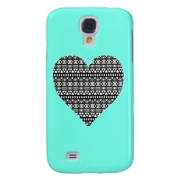 Aztec Themed Black and White Aztec Heart Samsung S4 Case