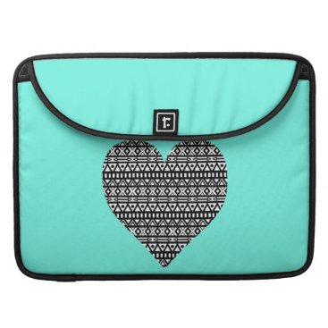 Aztec Themed Black and White Aztec Heart Sleeve For MacBooks