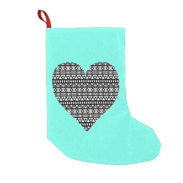 Aztec Themed Black and White Aztec Heart Small Christmas Stocking