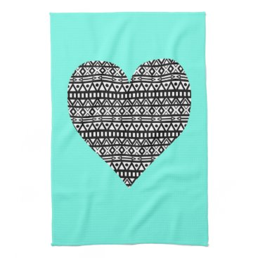 Aztec Themed Black and White Aztec Heart Towel