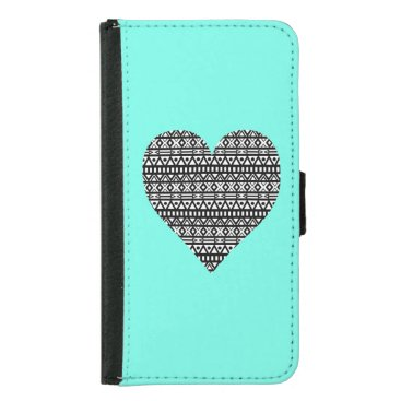 Aztec Themed Black and White Aztec Heart Wallet Phone Case For Samsung Galaxy S5