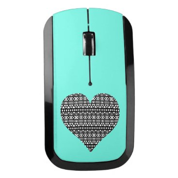 Aztec Themed Black and White Aztec Heart Wireless Mouse