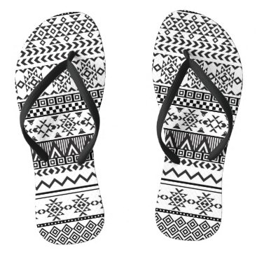 Aztec Themed Black and White Aztec Pattern Flip Flops