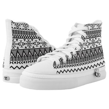 Aztec Themed Black and White Aztec Pattern High Top Shoes