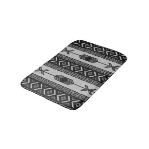 Black And White Aztec Pattern Southwest Tribal Bathroom Mat