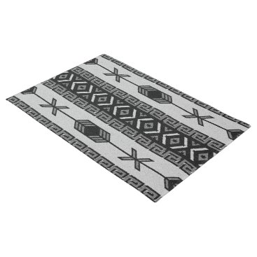 Aztec Themed Black And White Aztec Pattern Southwest Tribal Doormat