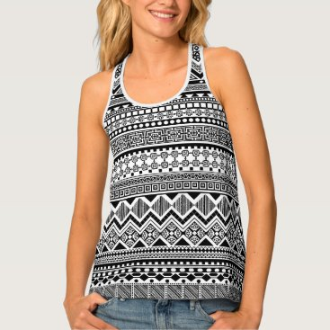 Aztec Themed black and white Aztec pattern Tank Top