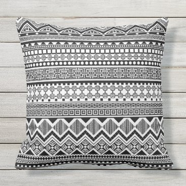 Aztec Themed black and white Aztec pattern Throw Pillow