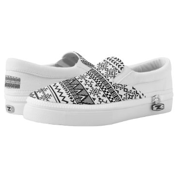 Aztec Themed Black and White Aztec PatternTop Shoes