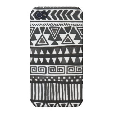 Aztec Themed Black and White Aztec Print iPhone 4/4S Case