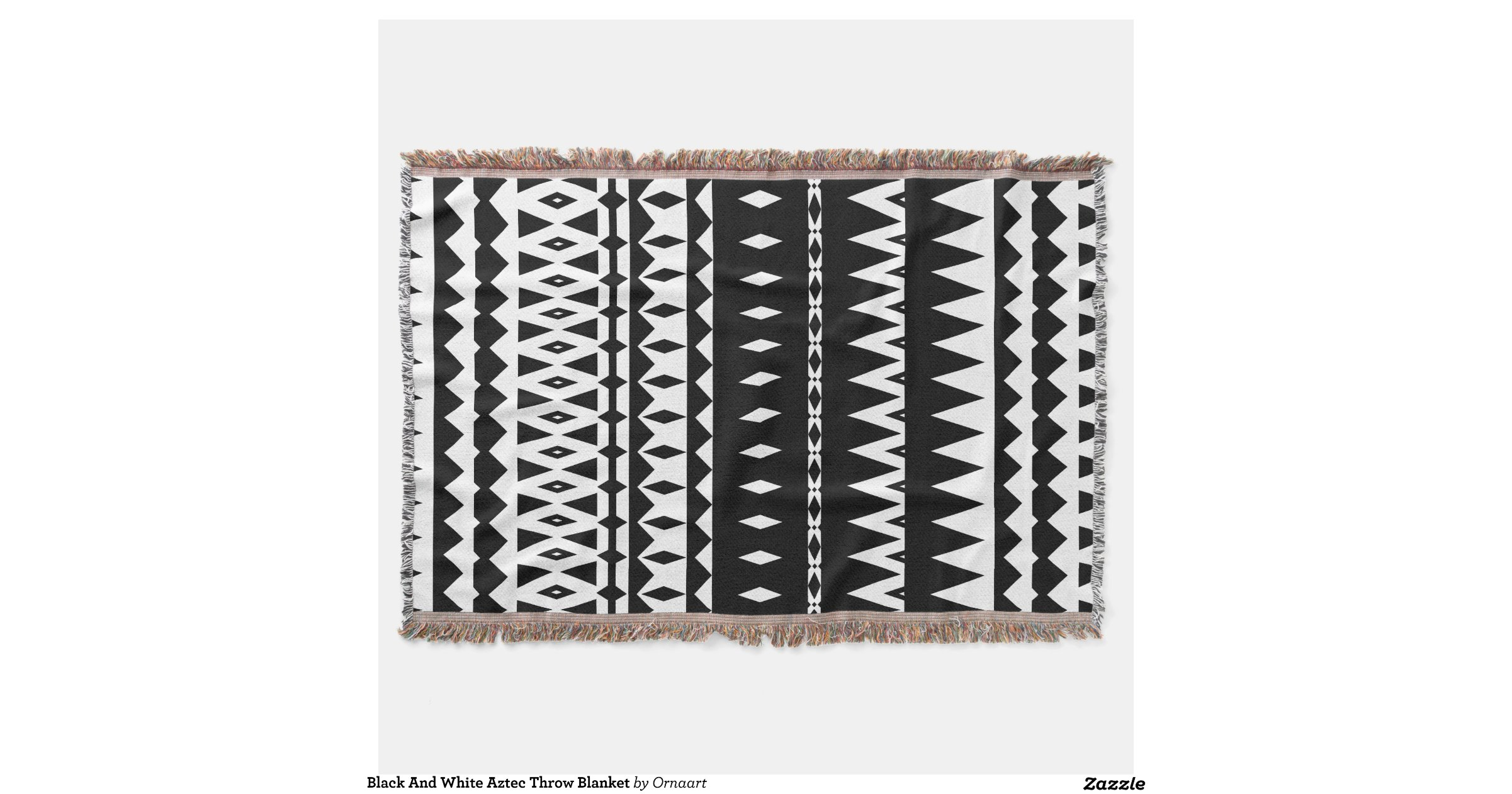 black and white aztec throw blanket zazzle. Black Bedroom Furniture Sets. Home Design Ideas