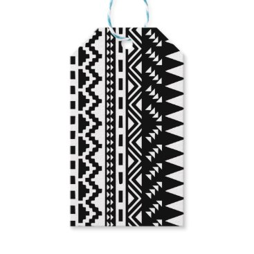 Aztec Themed Black and White Aztec Tribal Gift Tags