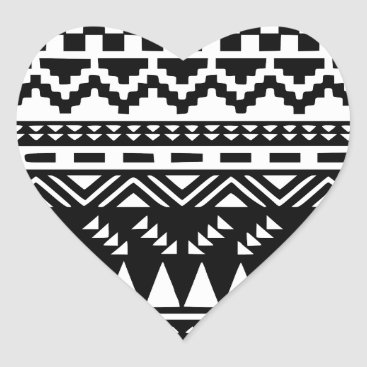 Aztec Themed Black and White Aztec Tribal Heart Sticker