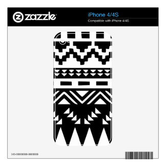 Black and White Aztec Tribal iPhone 4S Skin