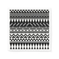 Black and White Aztec Tribal Napkin