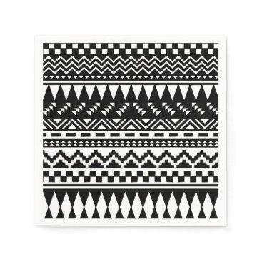 Aztec Themed Black and White Aztec Tribal Napkin
