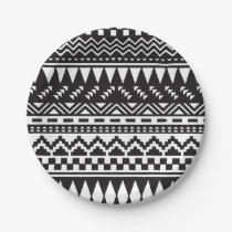 Black and White Aztec Tribal Paper Plate
