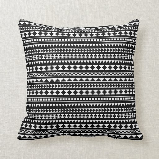 Black And White Patterned Throw Pillows : Black and White Aztec Tribal Pattern Throw Pillow Zazzle