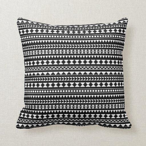 Black And White Aztec Tribal Pattern Throw Pillow Zazzle