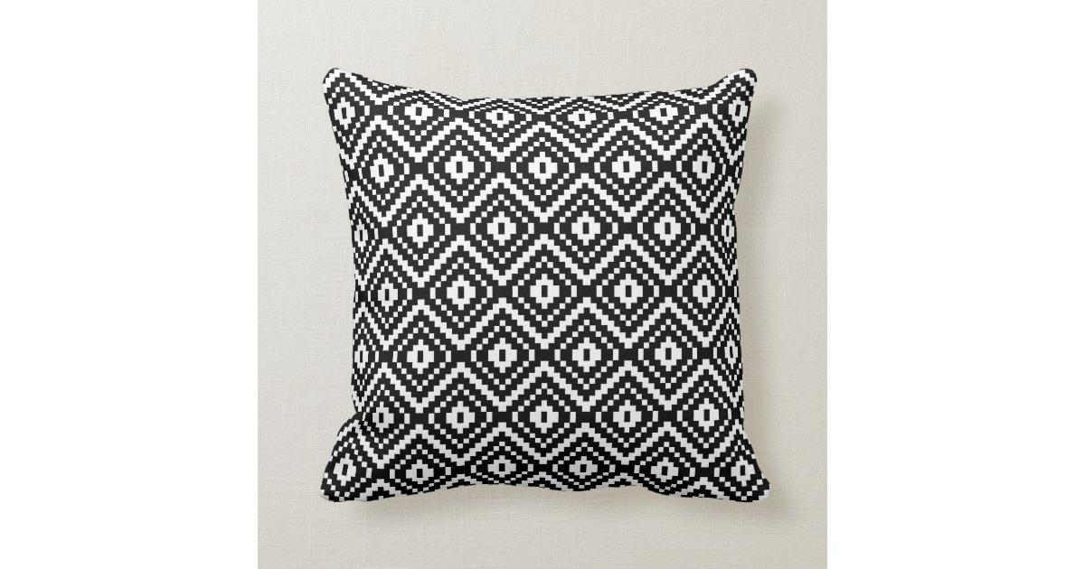 Black And White Aztec Tribal Print Throw Pillow Zazzle Com