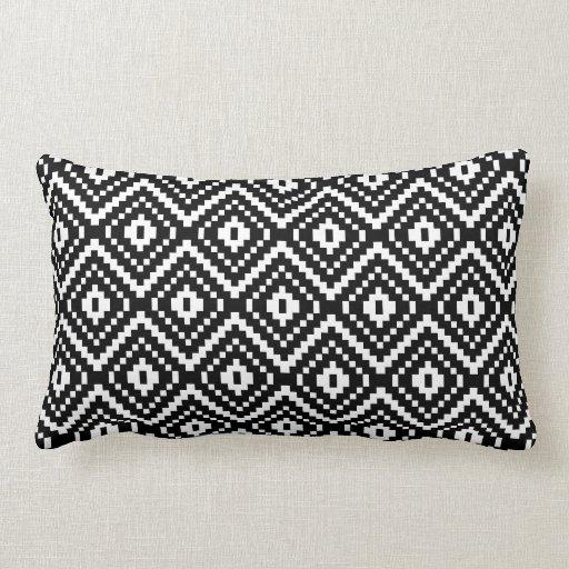 Black Tribal Throw Pillow : Black and White Aztec Tribal Print Throw Pillow Zazzle