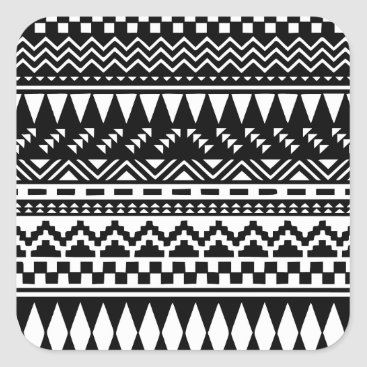 Aztec Themed Black and White Aztec Tribal Square Sticker