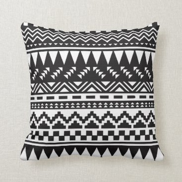 Aztec Themed Black and White Aztec Tribal Throw Pillow
