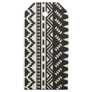 Aztec Themed Black and White Aztec Tribal Wooden Gift Tags