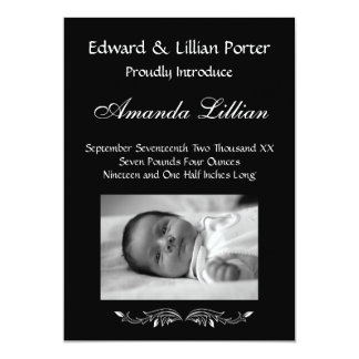 Black and White Baby Birth Announcement