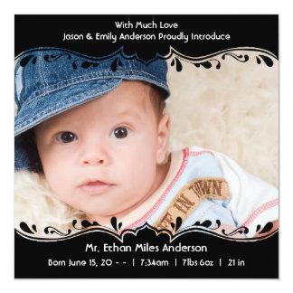 Black and White Baby Boy Photo Birth 5.25x5.25 Square Paper Invitation Card