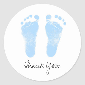 Black and White Baby Footprints Classic Round Sticker
