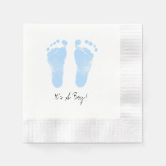 Black and White Baby Footprints Napkin