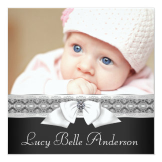 Black and White Baby Photo Birth Announcement