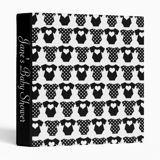 Black and White Baby Shower 3 Ring Binder