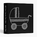 Black and White Baby Stroller. 3 Ring Binders