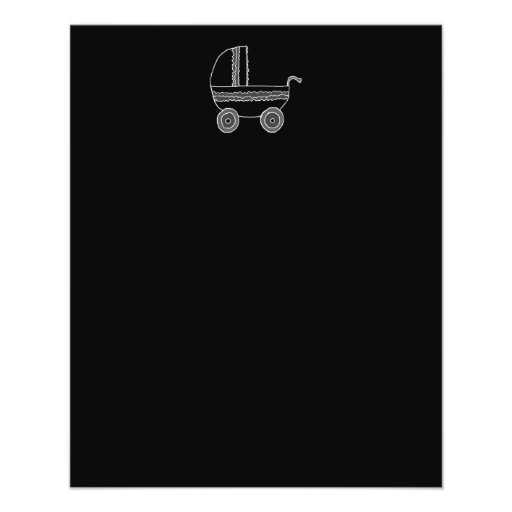 "Black and White Baby Stroller. 4.5"" X 5.6"" Flyer"