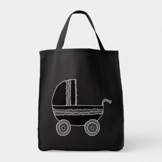 Black and White Baby Stroller. Tote Bags
