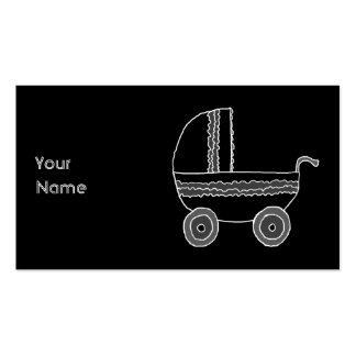 Black and White Baby Stroller. Business Cards