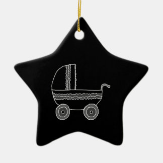 Black and White Baby Stroller. Double-Sided Star Ceramic Christmas Ornament