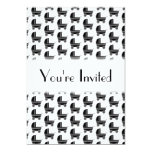 """Black and White Baby Stroller Pattern. 5"""" X 7"""" Invitation Card"""
