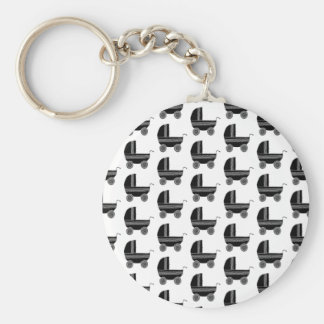 Black and White Baby Stroller Pattern. Keychain