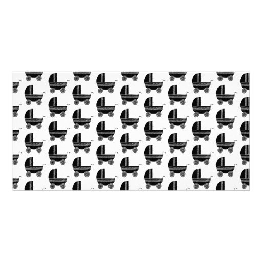 Black and White Baby Stroller Pattern. Picture Card