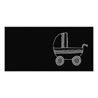 Black and White Baby Stroller. Photo Card