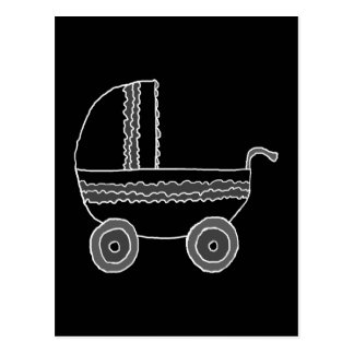 Black and White Baby Stroller. Postcard