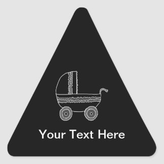 Black and White Baby Stroller. Triangle Sticker