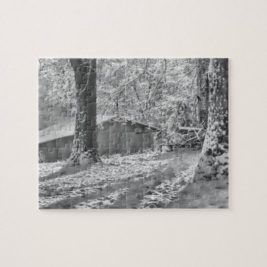 Black and White Backlit Rural Snow Scene Jigsaw Puzzle