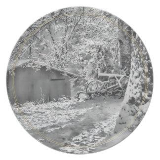 Black and White Backlit Rural Snow Scene Plates