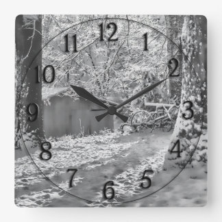 Black and White Backlit Rural Snow Scene Square Wall Clock